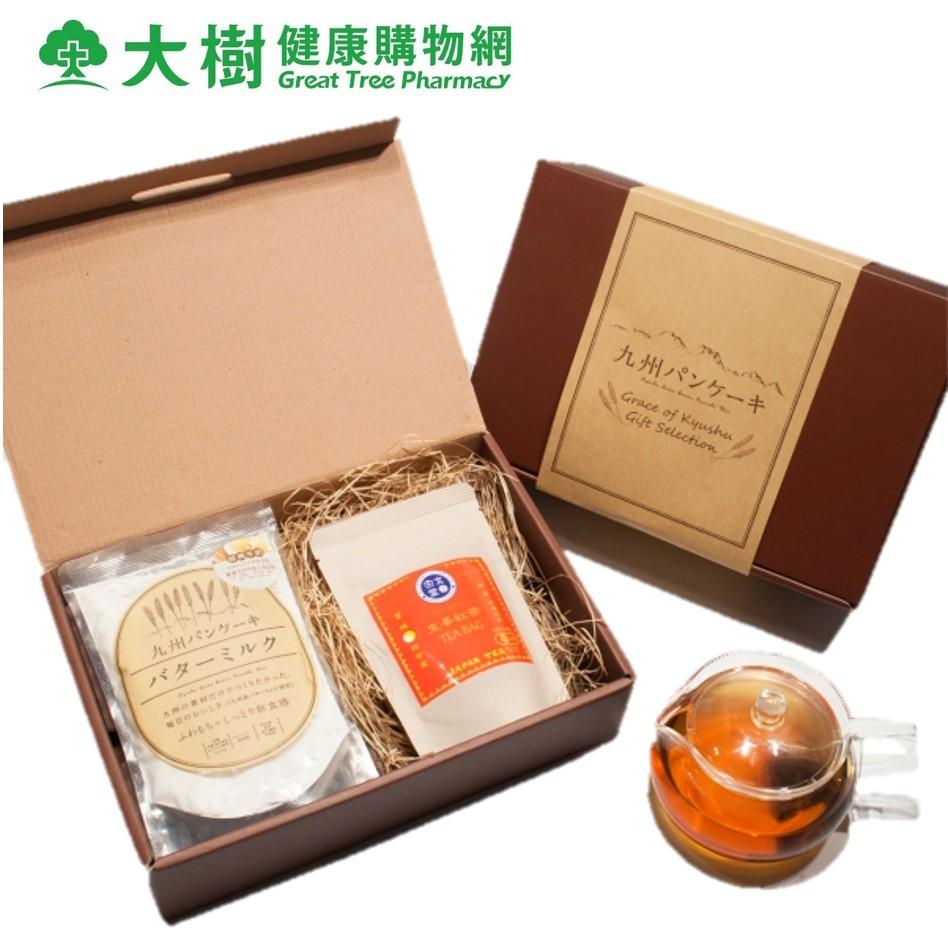九州Pancake 禮盒組 (經典牛奶鬆餅粉x2+白玄堂有機生薑紅茶x1) 大樹
