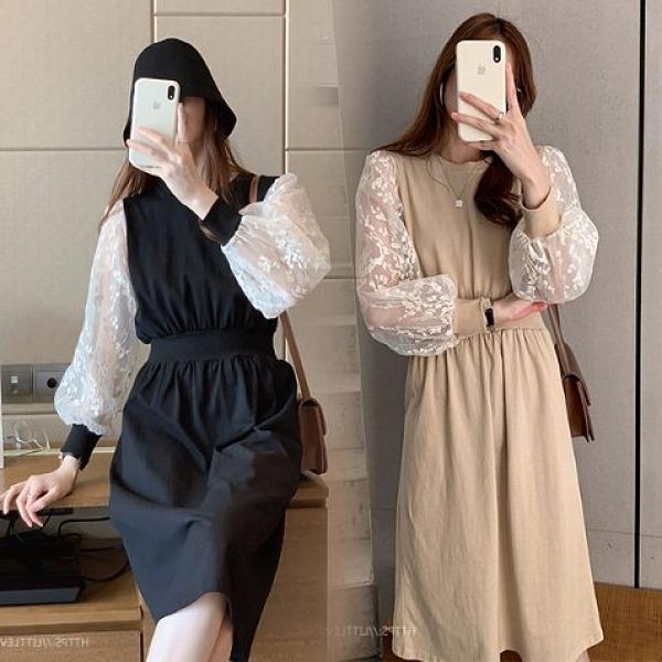 現貨4XL長袖洋裝連身裙收腰裙6256