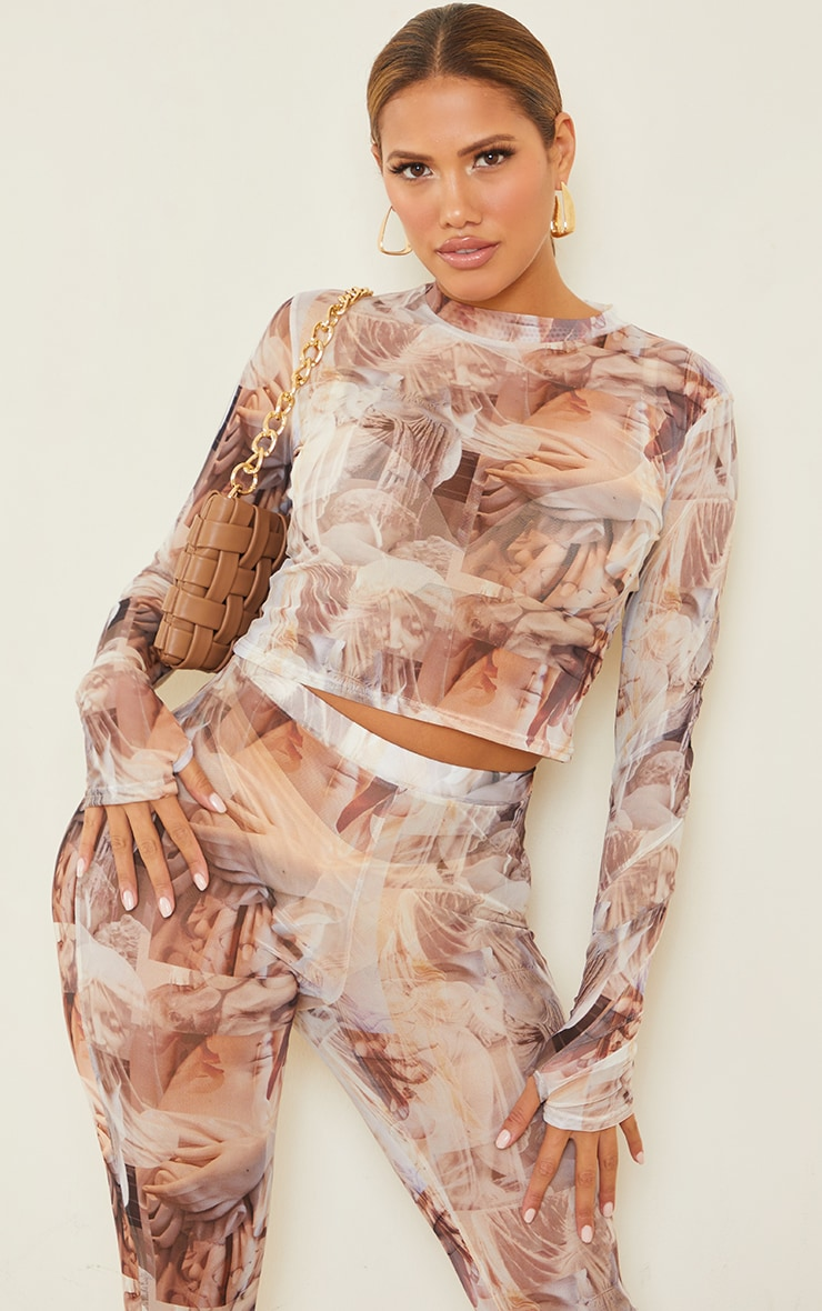 Shape Nude Renaissance Print Sheer Mesh Thumb Hole High Neck Top