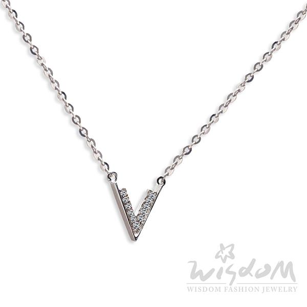 威世登 V型小鑽項鍊 情人節、生日、紀念日 DB01966-BBBXX