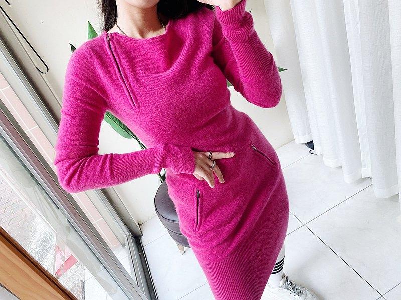 cashmere sweater•桃粉不對稱拉鍊喀什米爾羊絨毛衣洋裝'vintage