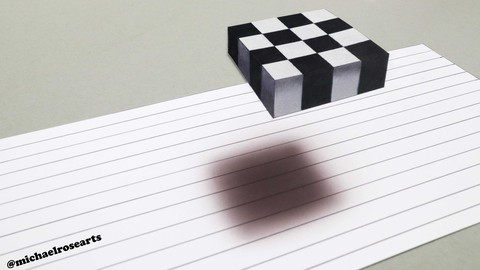 Optical illusion, how to draw, 3D floating checker board