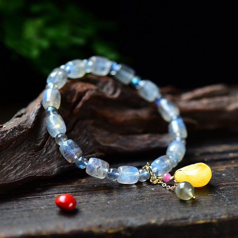 極品天然月光石拉長石藍月光手鏈 顆顆藍光 點綴蜜蠟吊墜 神秘美