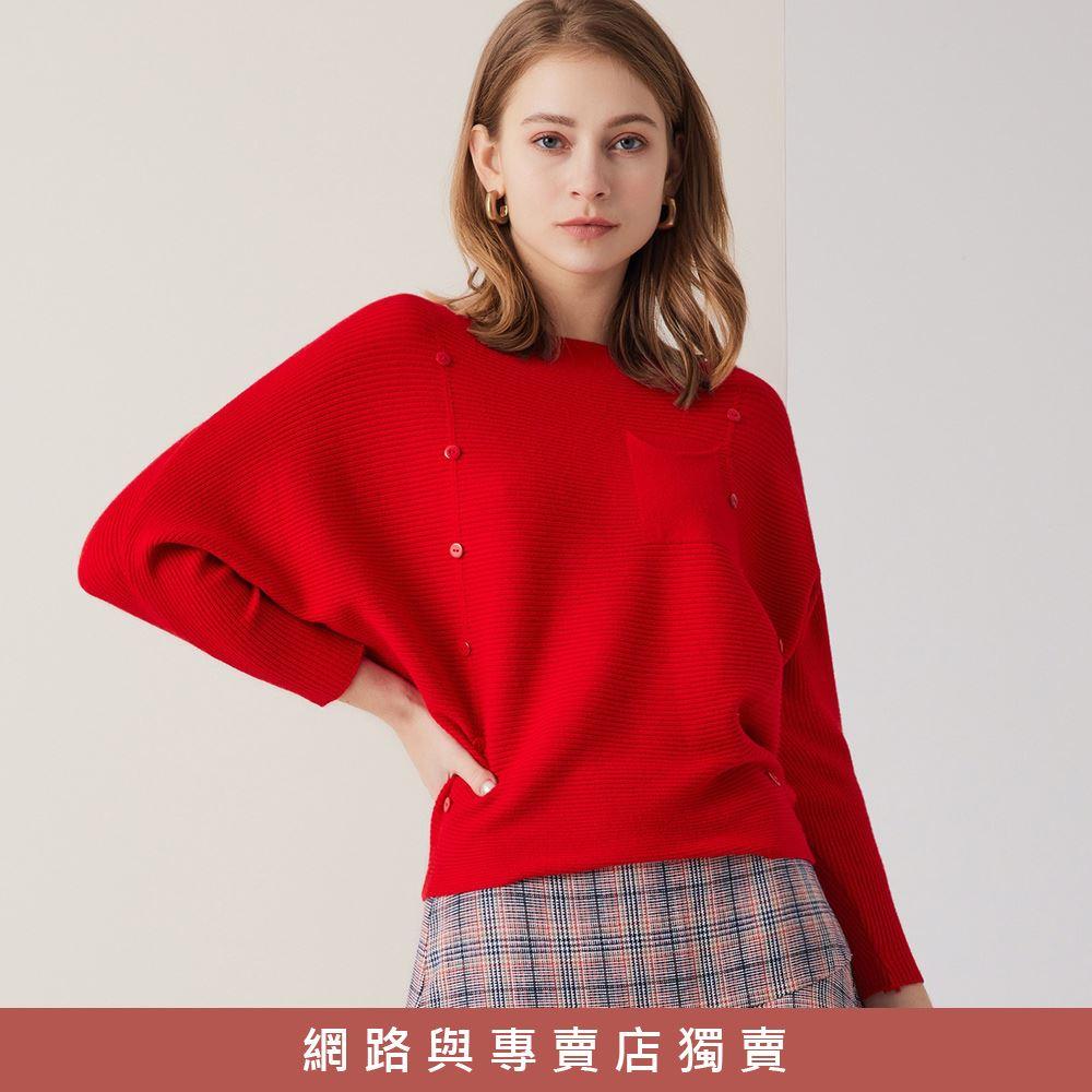 OUWEY歐薇 彈性坑條大圓領連袖針織上衣(紅/卡其)3211465002