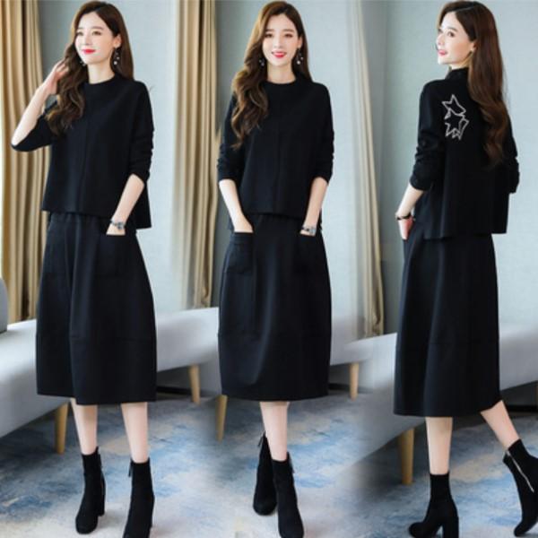 M-3XL韓版氣質OL風兩件式套裝(寬鬆長袖上衣+寬版及膝裙)顯瘦洋氣減齡裙子(2色)中大尺碼-凱西娃娃