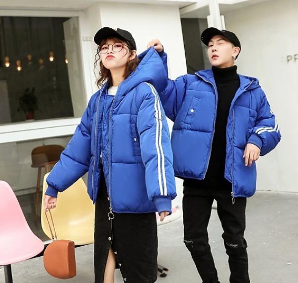 現貨藍色XL/2XL羽絨服棉衣35628/bf情侶麵包服學院風加厚短款連帽學生外套
