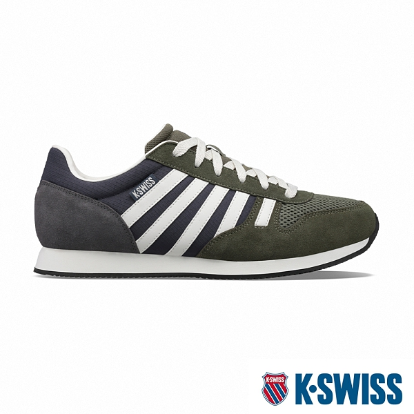K-SWISS Granada復古運動鞋-男-橄欖綠/藍/白