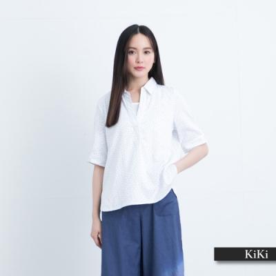 【KiKi】假兩件印花款-襯衫(白色/版型寬鬆)