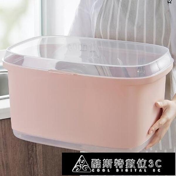 瀝水架 優思居 大號塑料帶蓋碗筷收納盒 家用廚房放碗碟瀝水架碗碟置物架 快速出貨