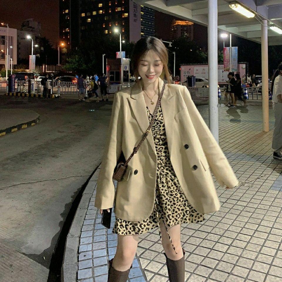 西裝外套 女生外套 薄外套 西服 網紅西服春秋新款時尚炸街休閑兩件套小香風豹紋洋氣連衣裙潮