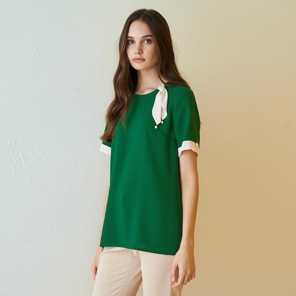 ILEY伊蕾 典雅撞色珍珠雪紡上衣(綠)002102