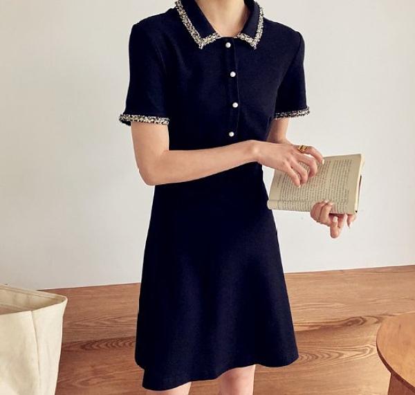 現貨XL韓版短袖洋裝連身裙中大尺碼小香風收腰修身POLO短袖赫本連衣裙4F051-914.