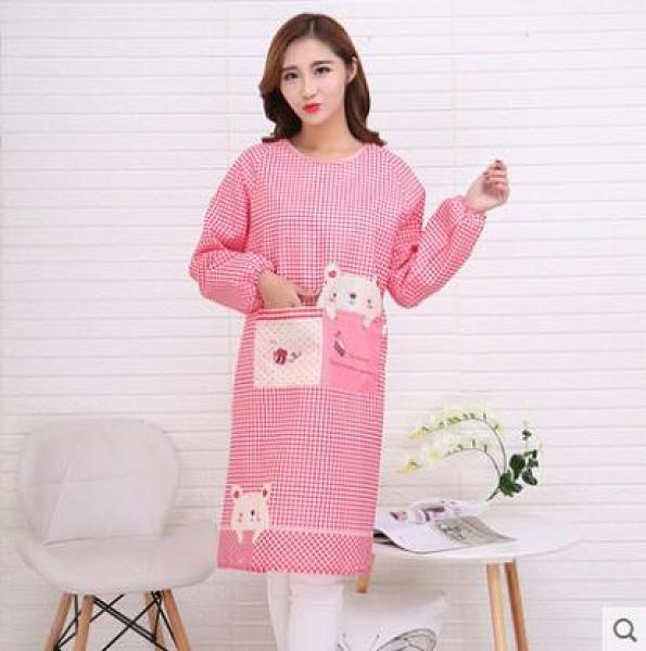2條 春秋韓版時尚長袖圍裙 廚房做飯防污圍腰 全身式成人罩衣可印logo