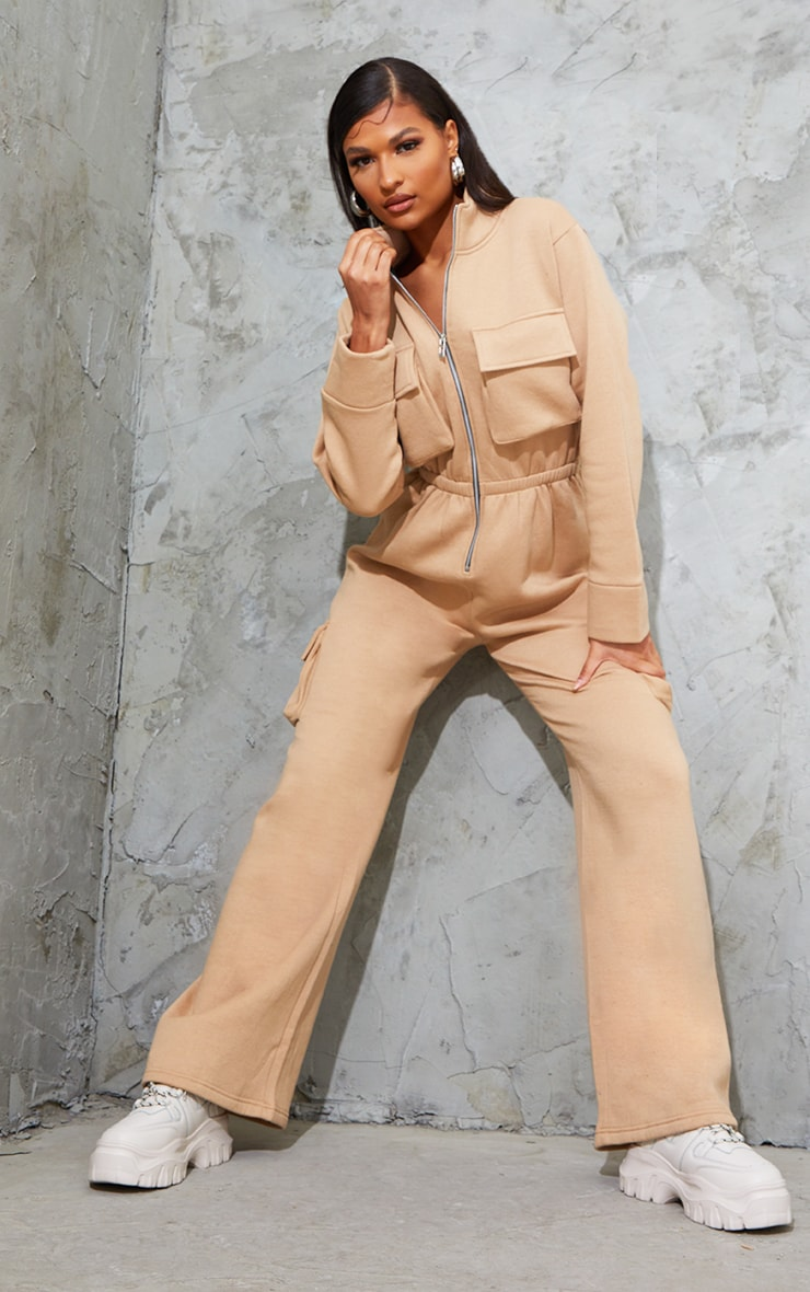 Camel Pocket Detail Boiler Sweat Jumpsuit