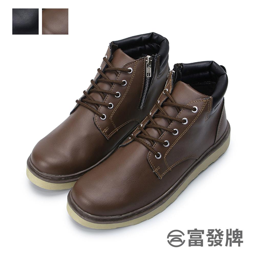 俐落有型男款綁帶靴-黑/咖 2EK80