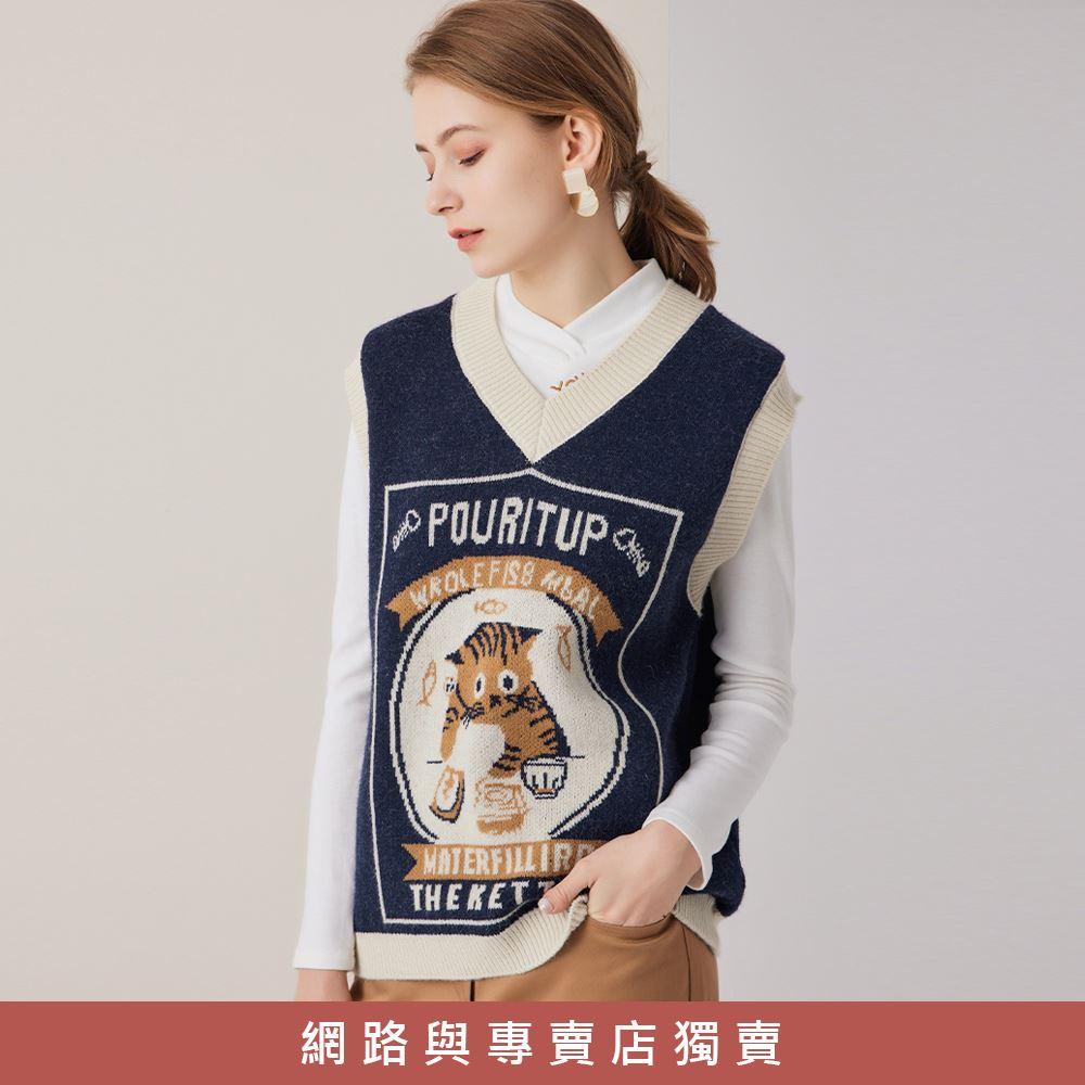OUWEY歐薇 超保暖小花貓針織背心(深藍)3211465008