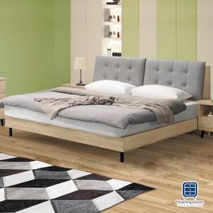 【Hampton 漢汀堡】諾克斯橡木貓抓皮5尺床組-床頭箱組