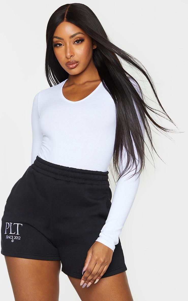 Essential White Cotton Blend V Neck Long Sleeve Bodysuit