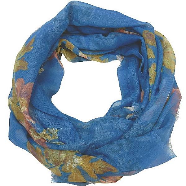 【波克貓哈日網】日系流行圍巾◇LUNE JUMELLE◇《藍底花朵》