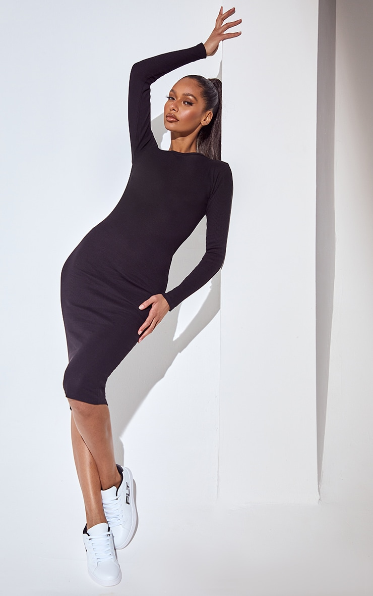 Essential Basic Black Cotton Blend Ribbed Long Sleeve Dress