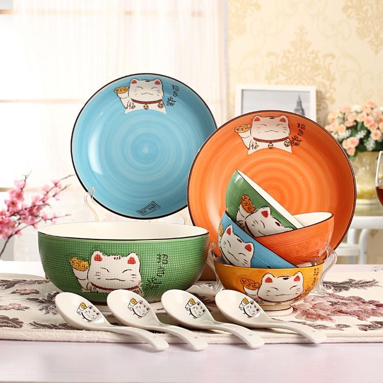 【現貨免運】日式卡通招財貓家用餐具陶瓷飯碗盤湯碗勺碗碟大號泡面碗套裝