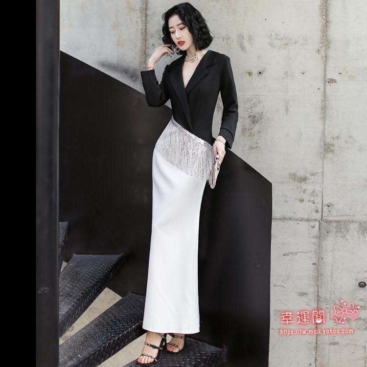 禮服 西裝晚禮服裙女2021新款白色高端大氣優雅氣質平時可穿主持人宴會T