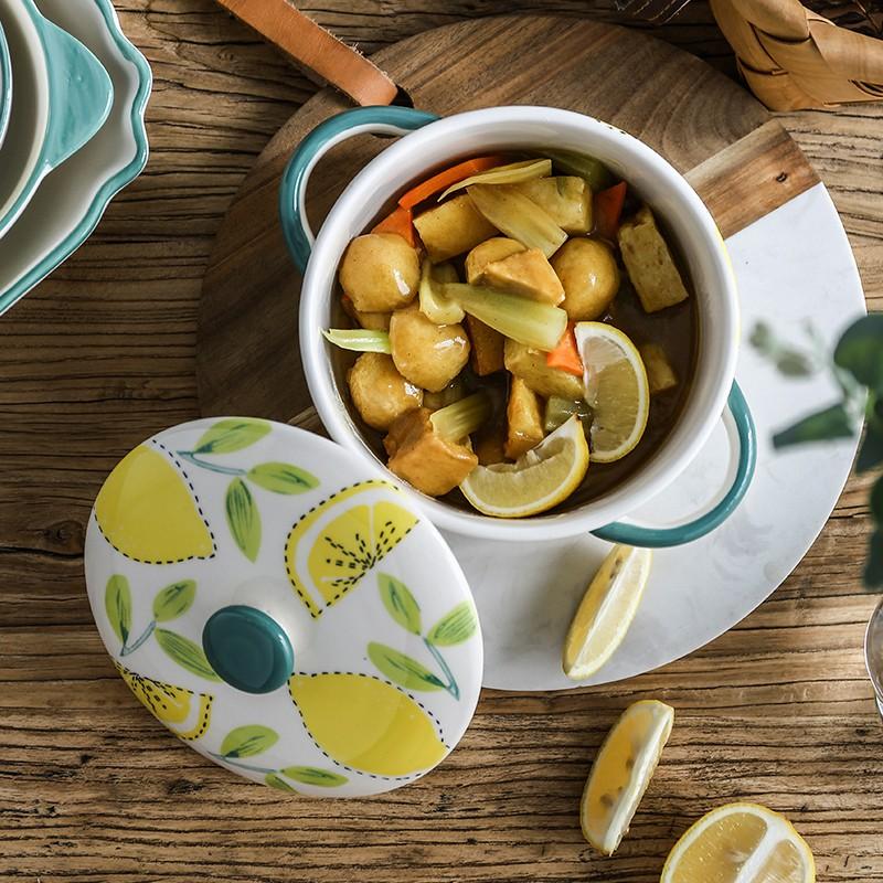 手繪櫻桃帶蓋泡面碗學生宿舍可愛家用有蓋陶瓷碗日式雙耳碗大湯碗