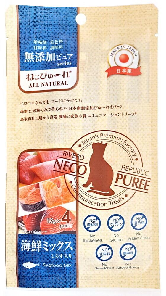 日本國產neco puree喵寵愛-海鮮口味肉泥(4份/包)