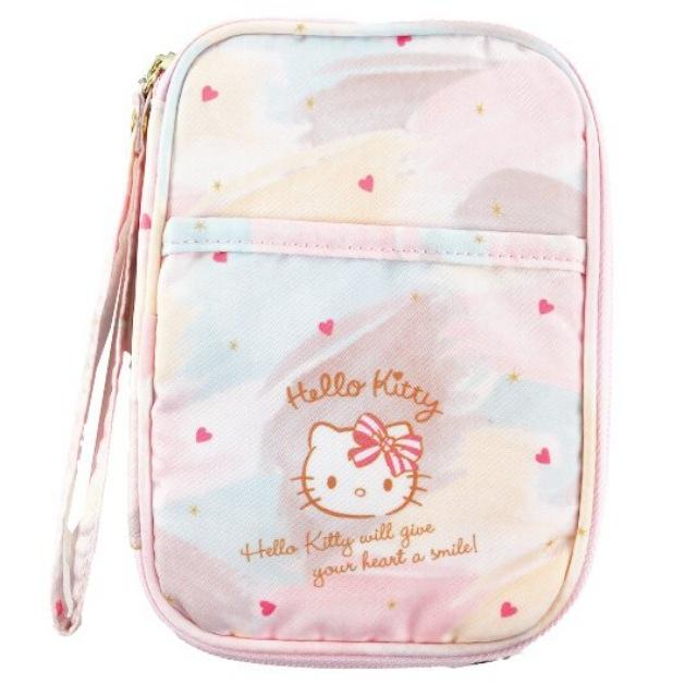 小禮堂 Hello Kitty 尼龍多功能收納包 票據包 證件包 護照包 文具包 (粉黃渲染)