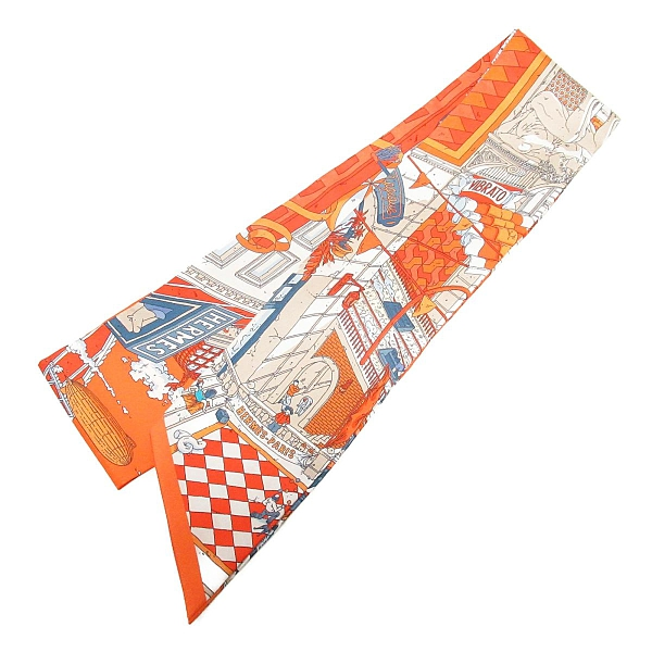 HERMES 愛馬仕 橙色絲巾 Le Grand Prix du Faubourg maxi-twilly slim 【BRAND OFF】