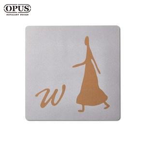 OPUS 歐式鐵藝廁所標示牌/WC洗手間(女生方款/邂逅)銀女生方款 / 不鏽鋼
