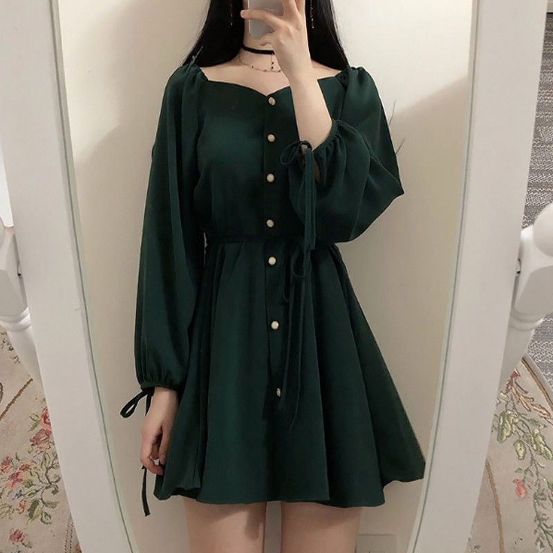 超氣質款小黑裙 一字領泡泡袖顯瘦小洋裝