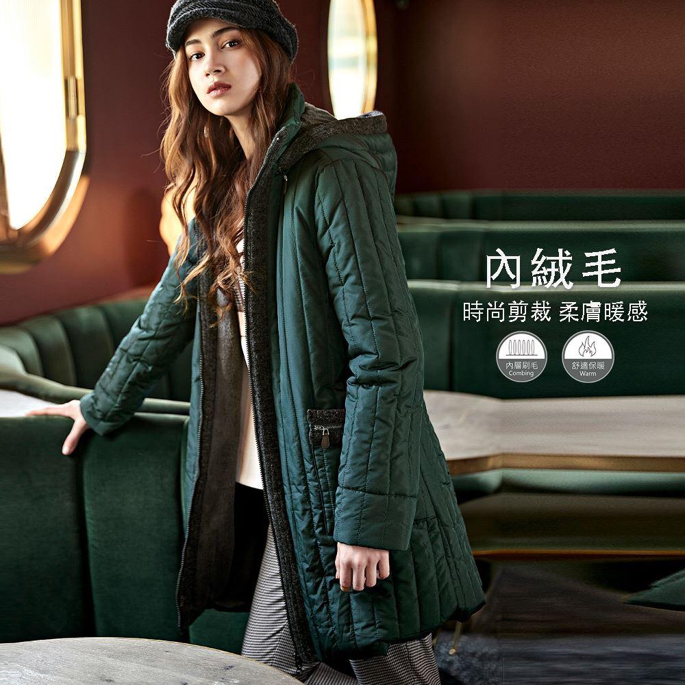 ILEY伊蕾 可拆連帽內絨毛修身鋪棉長外套(綠)051417