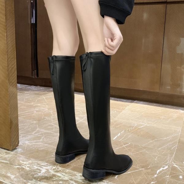 高筒靴.簡約顯瘦素面皮革後綁結低跟長靴.白鳥麗子