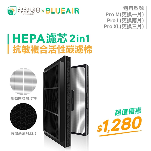 綠綠好日 抗敏 複合式 活性碳濾棉 適用 Blueair Pro M / L / XL 空氣清淨機