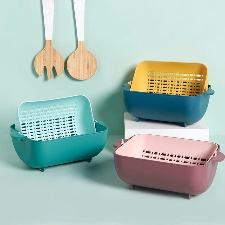 廚房收納抖音創意洗菜籃塑膠瀝水籃可旋轉收納水果籃廚