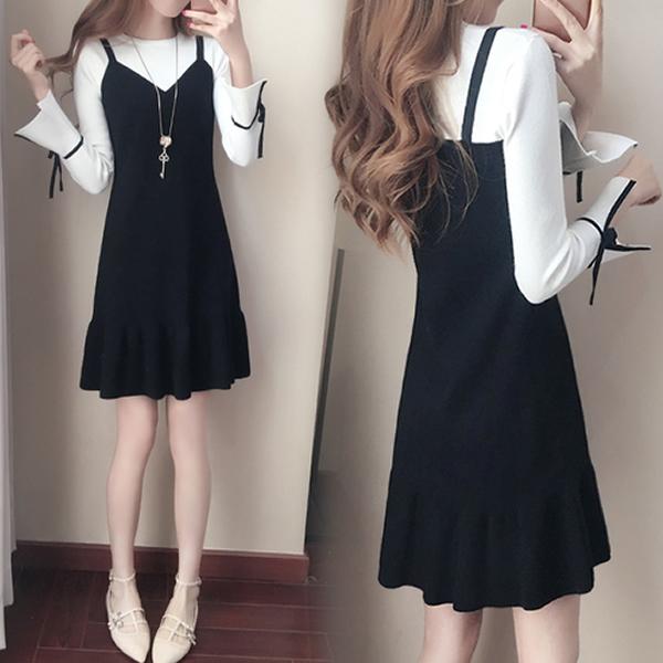 韓版修身顯瘦荷葉邊魚尾裙假兩件連身裙長袖洋裝(黑色)中大尺碼-優美依戀