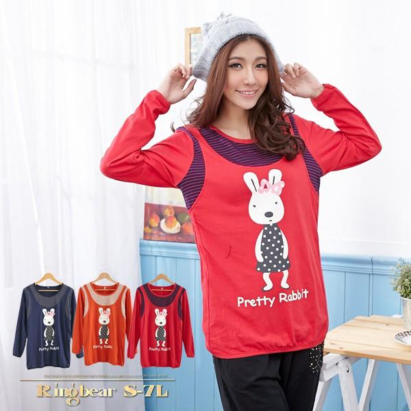 假兩件--可愛童趣點點兔子假兩件設計長袖上衣(橘.紅.藍L-3L)-X152眼圈熊中大尺碼