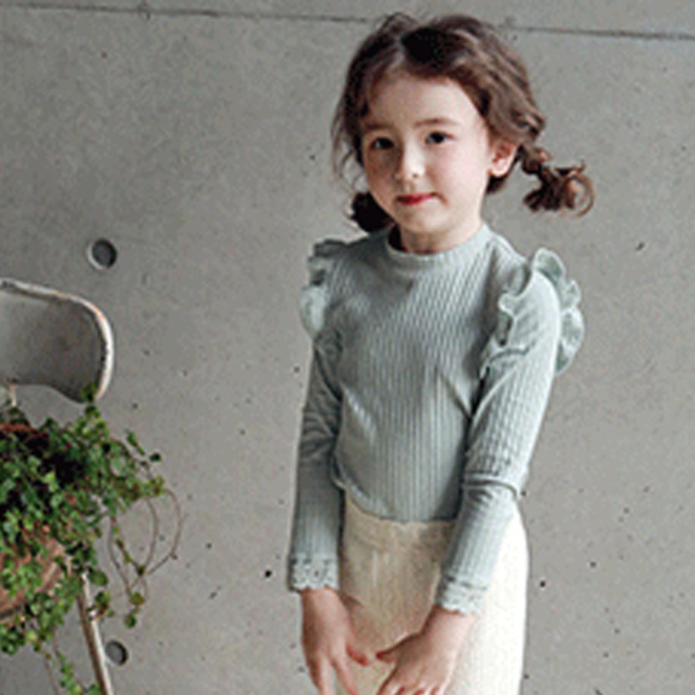 韓國 PuellaFLO - 荷葉裝飾袖羅紋上衣-薄荷綠