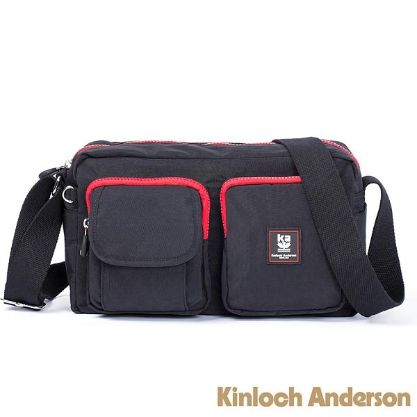 金安德森 極簡耀色 多夾層口袋斜側輕旅包(小款) 低調黑紅