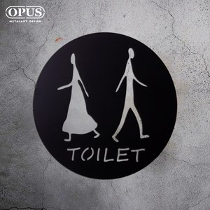 OPUS歐式鐵藝廁所標示牌/WC洗手間(圓款TOILET/邂逅)黑TOILET圓款 / 鏤