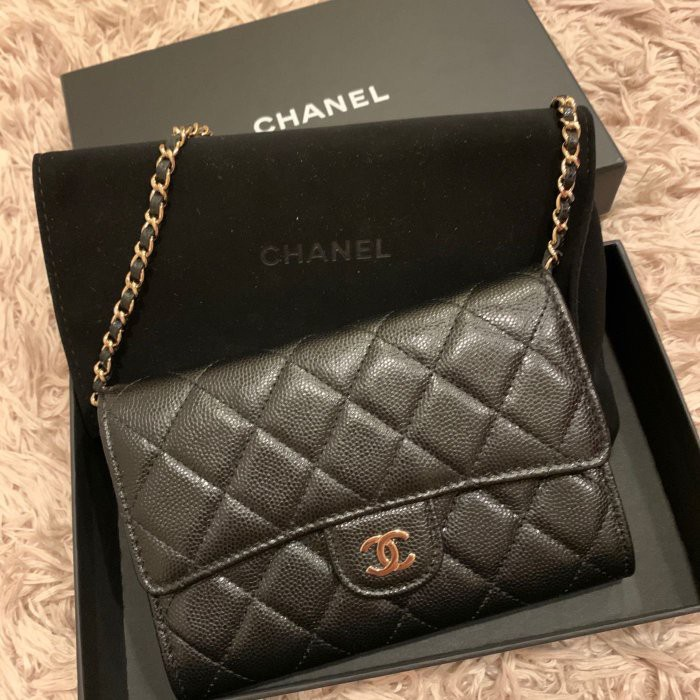 二手正品/Chanel mini woc迷你黑色荔枝皮金鍊斜背包 皮夾 中夾 零錢包