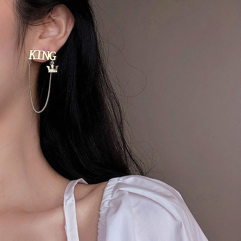字母KING流蘇夾式耳環女2020新款潮網紅高級感耳墜韓國耳飾潮S925銀針耳夾A1026
