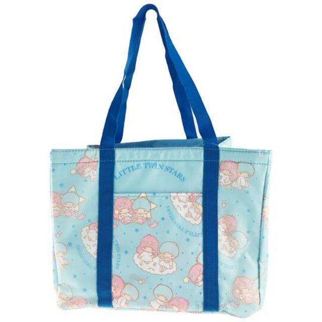 小禮堂 雙子星 橫式尼龍束口保冷側背袋 環保購物袋 野餐袋 (藍 滿版)