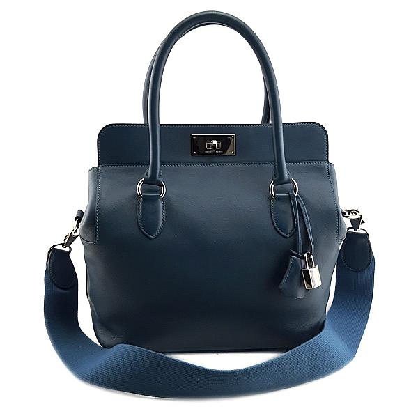 【奢華時尚】HERMES 藍色牛皮銀釦手提肩背兩用ToolBox包(九成新)#24525