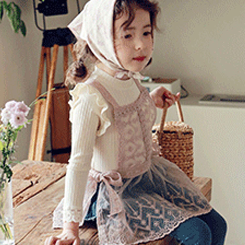 韓國 PuellaFLO - 鋸齒雕花透膚裝飾小背心-粉紅