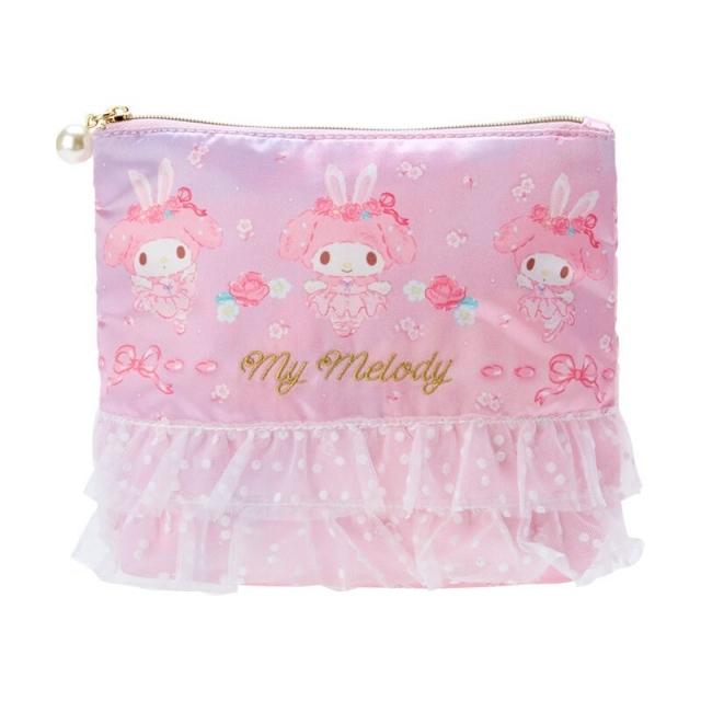 小禮堂 美樂蒂 蕾絲緞面扁平收納包 緞面收納包 化妝包 文具袋 (紫 芭蕾劇場)