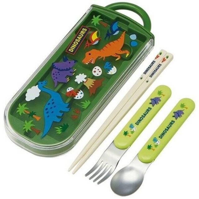 小禮堂 恐龍 日製 滑蓋三件式餐具組 叉匙筷 兒童餐具 環保餐具 (綠 火山)