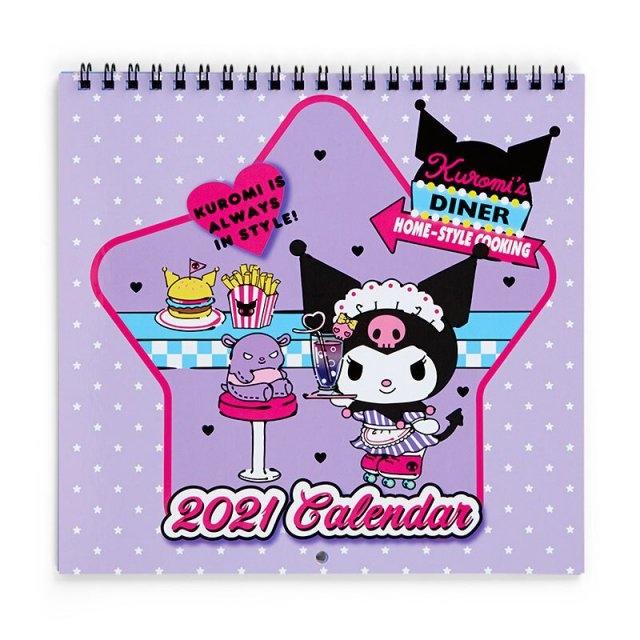小禮堂 酷洛米 日製 2021 線圈式掛曆月曆 壁掛月曆 行事曆 年曆 (紫 服務生)