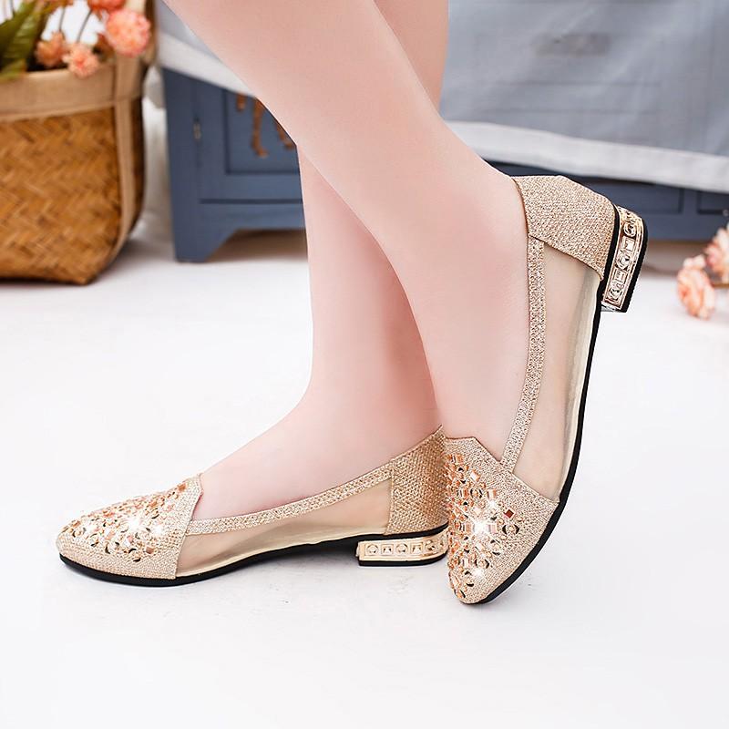 女鞋 - 春秋時期透氣平網紗單鞋厚帶鑽葫蘆鋼包淺尖嘴孔女夏雪生工作